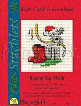 Mouseloft Boxing Day Walk Card Christmas Stitchlets cross stitch kit